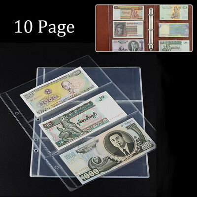 10 Pages Paper Money Holders Storage Album Banknote Collecting 3-Pockets Sheets
