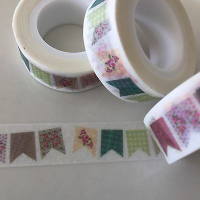 Washi Tape Patchwork Bunting 15Mm X 10Mtr Planner Craft Scrap Wrap Mail Art
