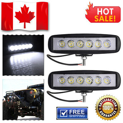 "2X 18W 6"" Spot LED Work Light Bar Motorcycle SUV ATV OffRoad Fog Driving UTE Car"