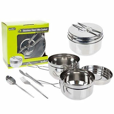 Summit 6pc Stainless Steel Tiffin Cooking Set Camping Metal Pan Cutlery Hiking