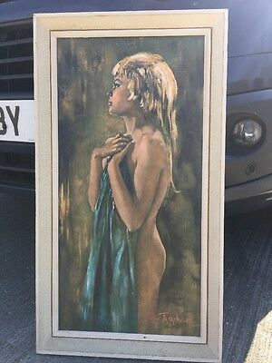 Vintage Mid Century Modern Painting Oil Betty Raphael Nude Woman Retro Picture