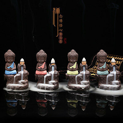 Ceramic Small Buddha Cone Back-flow Smoke Incense Burner yoga yogi Decoration UK
