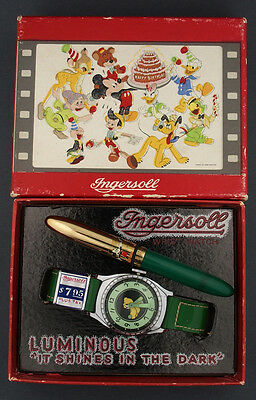 1949 Pluto Luminous Birthday Character Watch in Box w/ Pen by Ingersoll U.S Time