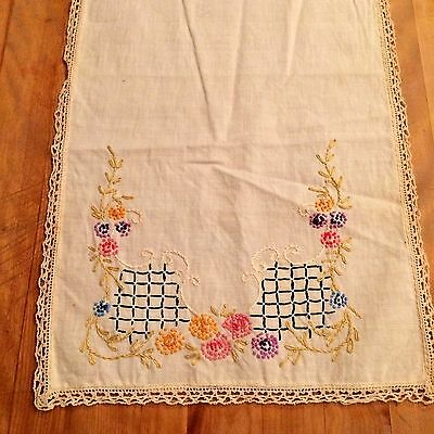 Antique Handmade Linen and Lace Table Runner with Needlepoint Flowers