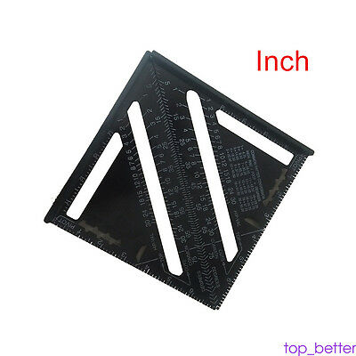 7 inch Square Angle Alumium High Black Framing Triangle Builder Ruler Gauge Tool