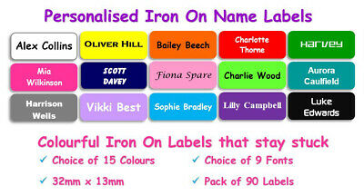 35 Waterproof Personalised Circle Colour Iron on Name Labels Clothing Tags RI26