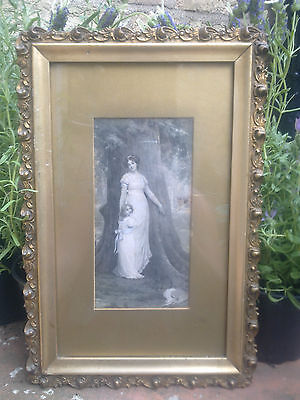 Antique Victorian Print in Pretty Gold Gesso Frame