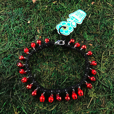 HOTI Hemp Handmade Black Red Jingle Bells Anklet Ankle Bracelet Hand Crafted NWT