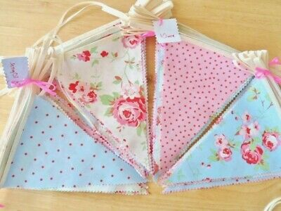 BUNTING Party Vintage Wedding Shabby Chic Pink Blue White Pastel Floral Fabric !