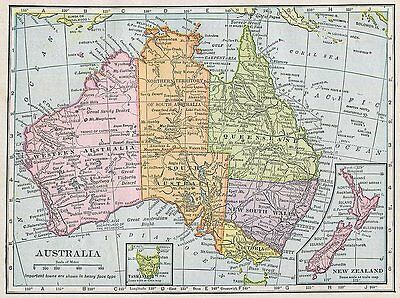 AUSTRALIA Map US in Pacific Islands Map Antique 1910 Hammond Wall Decor Small