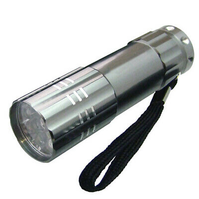 Mini Ultra Bright Silver Aluminium 9 Led Pocket Light Flashlight Torch Camping