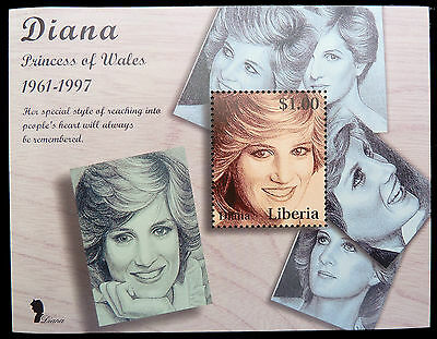 LIBERIA Wholesale Princess Diana Memoriam Min/Shts Young Portrait x 100 CD 582
