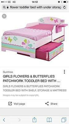 Toddler Bed With 2x Storage Drawers And Detachable Tray