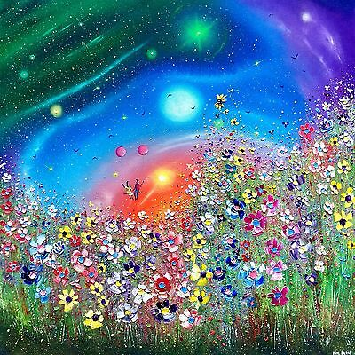 """Meadow flowers"" a huge colourful original oil painting on canvas, Phil Broad"
