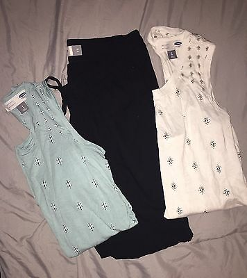 Old Navy Maternity 3 Piece Lot! 2 Tank Tops & 1 Pair of Black Pants!