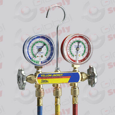 "Yellow Jacket 41709 - Series 41 Manifold, 2-1/2"" Gauges, RYB 60"" Hoses, R-410A"