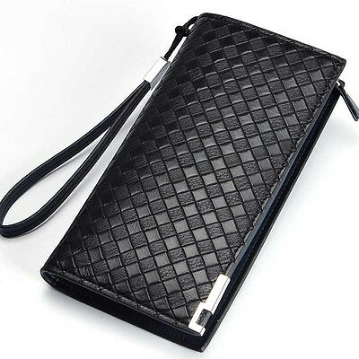 Style Men's Leather Credit Card Holder Wallet Zippered Purse Clutch Checkbook