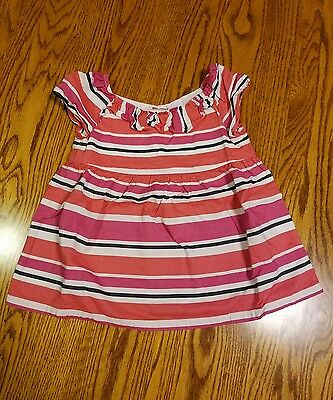 Gymboree Girls Short Sleeve Striped Dress Shirt Size 3T EUC