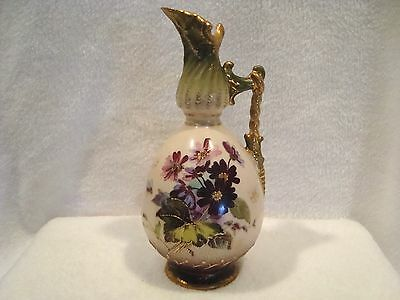 #112 Floral and gold gilded handpainted porcelain pitcher.