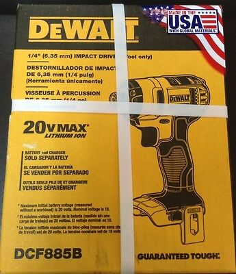 "DEWALT 20v 1/4"" Impact Driver Dcf885b(BARE TOOL ONLY!!) New In Box!"