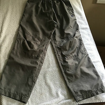 STAR boys athletic pants size L (10-12) olive tan, black stripe partially lined