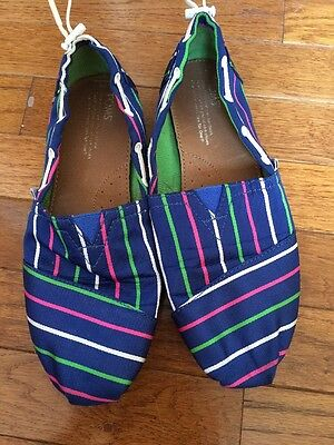 Toms Girls Youth Size 6 Bimini Blue Striped Slip On Boat Shoes Flats