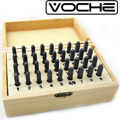 Voche® 36Pc 3Mm Letter & Number Stamping Punch Set + Wooden Case Metalwork Set