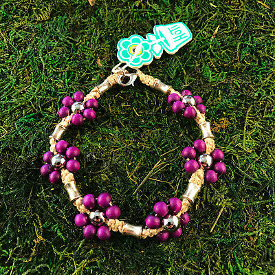 HOTI Hemp Handmade Natural Purple Wood Metal Flowers Anklet Ankle Bracelet NWT