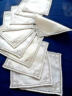 "11 Antique Italian Linen 5""Cocktail Napkins Hand Punto Antico Embroidery Coaster"