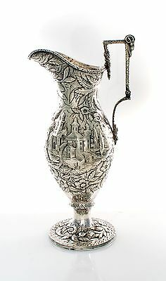 Fine Antique Coin Silver Repousse Ewer by S. Kirk and Sons