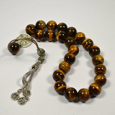Tiger Eye Worry Beads Handmade Greek kompoloi - Traditional cultural accessory