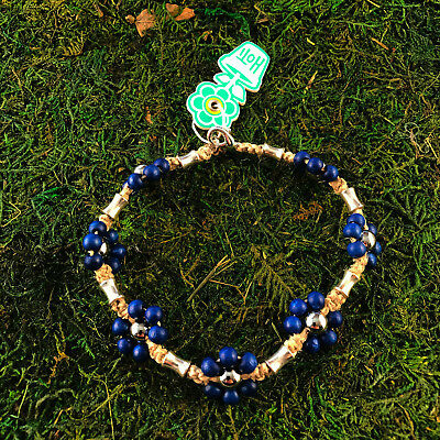 HOTI Hemp Handmade Natural Blue Flower Wood Metal Bead Anklet Ankle Bracelet NWT