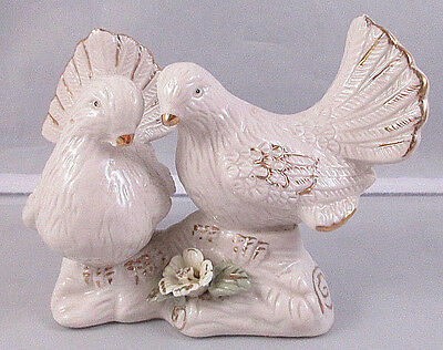 Vintage White Ceramic Two Doves Birds Perched On A Branch With Flower Figurine