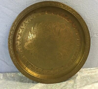 """Vintage Middle Eastern Hand Made Cast Brass Tray 11.5"""" diameter signed K.A."""