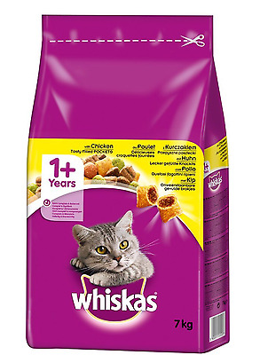 Whiskas 1 + Adult Cat Complete Dry Food With Chicken 7kg pack Brand New Free P&P
