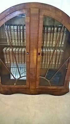 Antique 1930's original mahogany round bookcase with lock and key untouched
