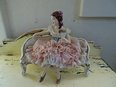 Vintage German Dresden Lace Figurine Lady On Sofa W/fan