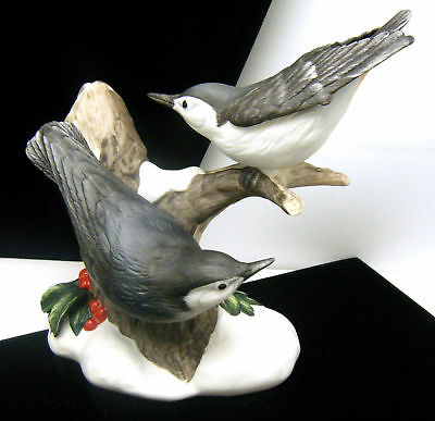 Porcelain Bird Figurine Nuthatch Pair Snow Holly Winter Scene