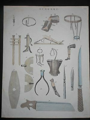 Scarce Antique Surgery Instruments Bone Saw Knife Braces 1822 Hand Colored