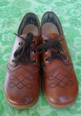 vtg 70's mod brown leather shoes 8.5 M lace up oxfords hidden wedge