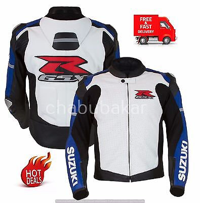Suzuki Gsxr White Leather Motorcycle Motorbike Motogp Racing Jacket Ce Armoured