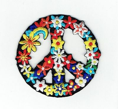 Peace Sign with Flowers - Iron on Applique Embroidered Patch 697102-A