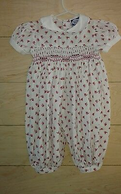 CARRIAGE BOUTIQUE FRIEDKNIT GIRL one piece short sleeve ROMPER outfit size 6 mo.