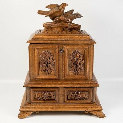 Antique Black Forest Carved Jewelry Chest, Box, Bird Figural Top, Drawer, Key