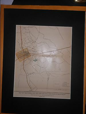 Corsicana Oil & Gas Field 1901 Map Navarro County Texas Hand Colored Matted