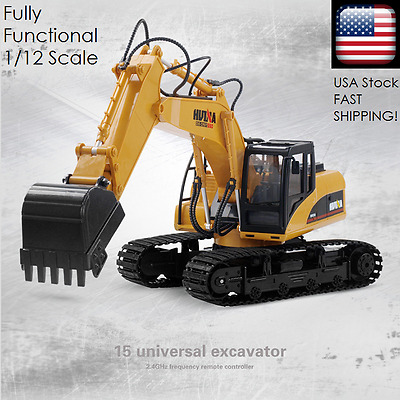 *NEW!* 15 Channel RC 1/12 Scale of REAL Excavator Fully Functional Metal Tractor