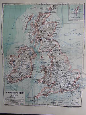Antique print map Great Britain and Ireland UK 1903