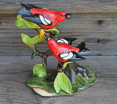 "9"" Stangl Double White Wing Crossbill Birds figurine 3754 White Red Black"