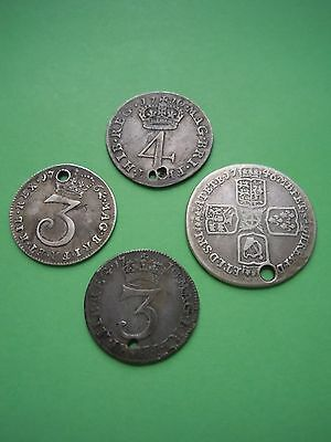 Lot Of 4 British Silver Coins (1710-62) Maundy Coins Sixpence Estate Look!