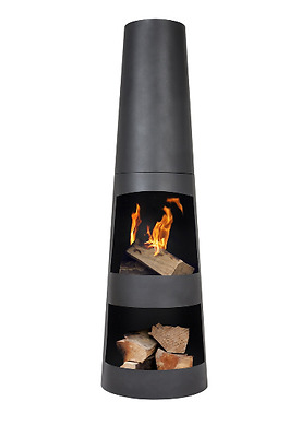 La Hacienda Circo Outdoor Patio Steel Chimenea, Fireplace, Garden, Log Storage